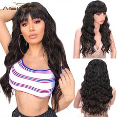 Long Wave Wig with Bangs for Women Synthetic Curly Weave Black Mixed Brown Wig Heat Resistant Fiber Black Brown 24 inches