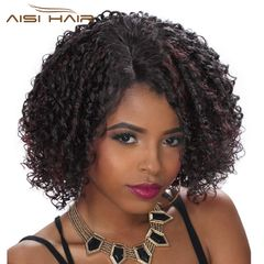 Kinky Curly Wig for Black Women Black Mixed Red Color Side Part Synthetic Heat Resistant Fiber 1B-BUG 12 inch