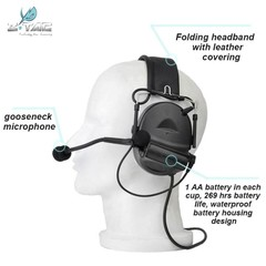 Z-TAC Z041 New Material Noise Reduction Headset PU Synthetic Leather Headband For Shooting bk