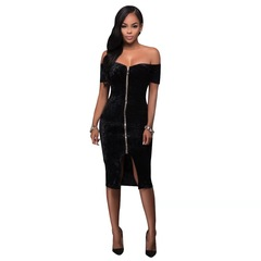 A new 2019 golden diamond velvet zipper dress with a single neck bandage dress black s