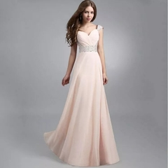 European and American elegant mosaic sequins chiffon party evening dress long skirt  pink s