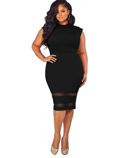 Explosion models sexy large size women's dress solid color mesh stitching skirt black xl