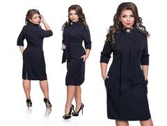 European station new European and American big size women's dress vertical collar pencil skirt black l