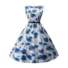 New retro Hepburn skirt round collar sleeveless cotton cloth with elastic dress,   free belt blue s