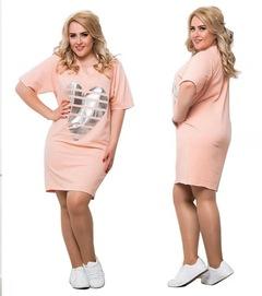 Love loose large size printed dress, round collar,T-shirt dress pink l