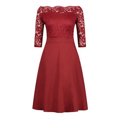 Good quality women clothes boat neck strapless dress plus size lace dress wine red s