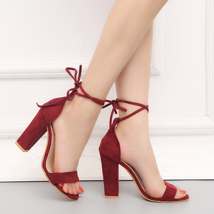 Shoes heels ultra-high with suede female sandals shoes ankle strap thick with Rome red 34