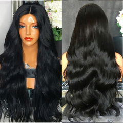 (gift)Women black big wave long curly wig hair head set wholesale custom-made factory direct sales black 65cm