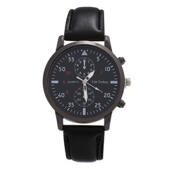 2019 Men Military Business Watches Luxury Sport Digital Leather Band Alloy Quartz Watch black