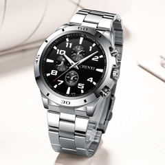 2019 Men Fashion Watch Multi-dial Alloy Stainless Steel Waterproof Male Classic Casual Quartz Watch black