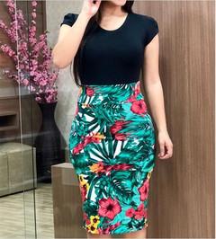 2019 New European Women Floral Print Bodycon Dresses Short Sleeve Slim Dresses Sexy Bodycon Dresses Color 01# S