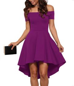 2019 New Summer Elegant Party Slash Neck Off Shoulder Dress Evening Party Dress Pure Color Dress color 01# s