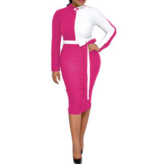 Women Sexy Hit Color Bodycon Dresses Long Sleeve Casual Office Elegant Dress Party Club Dress OL color 01# s