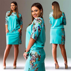 2019 hot sell Fashion Women Five-point sleeve Solid Cotton Print Casual party dress O-Neck Dresses color 01# l