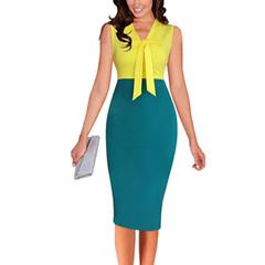 2019 Women Dress Summer Sleeveless Office Dresses V-neck Contrast Color Bow Pencil Work Dress color 01# s
