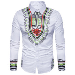 2019 Men's National Style Printing 3D fashion leisure large size slim long sleeve shirts Party Wear color 01 xxl