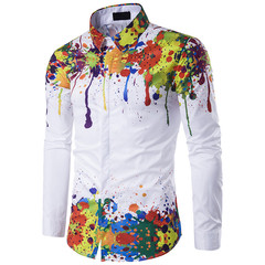 2019 Men's Shirt Splashing ink Colorful Slim print 3D long sleeve shirt Party Wear Match with Suit color 01 xxl