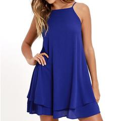 Women Summer Sexy Halter Mini Dress Party Loose Big skirt Dress Pure Chiffon Dresses blue s