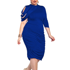 New Big Size Solid Women's Dress Irregular Sleeve Sexy Dress blue l