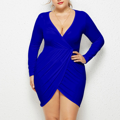 Sexy Party Dress Knitted Mini Dress Women Fashion Sexy Cross V-Neck Long Sleeve Short Dresses blue l
