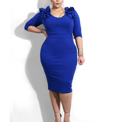 New Arrival Women Long Sleeve Bodycon Dress Office Lady Party Dress blue s
