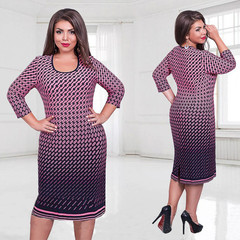 Women Clothing Elegant Office Work Dress Women Neck Large Size Dresses Oversize Casual Midi Dress purple l