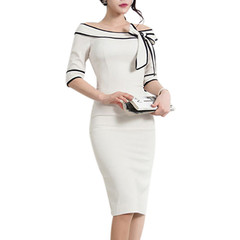 Women Brief Elegant Slash-Neck Bow Pinup Casual Office Work Party Pencil Dress white s