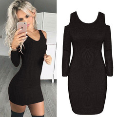 Casual Off Shoulder Bodycon Spring Autumn Dresses Women Long Sleeve Sexy Slim Elastic knit Sweaters black s