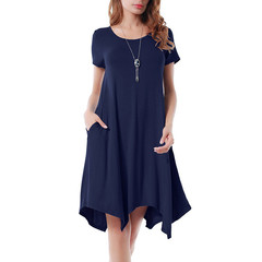 Women's Fashion Irregular dress with short sleeves blue s
