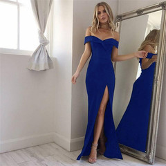 Elegant New Fashion Flounce Tube Dress Bandeau Skirt Sexy Party Evening Dress Sleeveles blue s