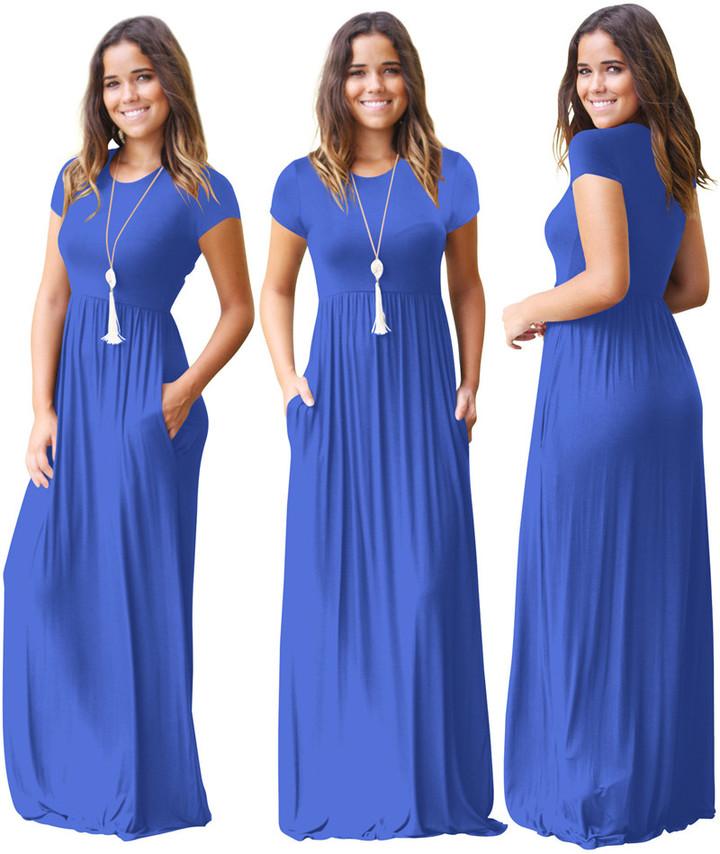 Summer Women Ladies Fashion Dresses Casual Short Sleeve Round Neck Pure Color Pocket Long dresses blue s