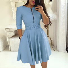 Fashion Elegant A-Line Party Dress Women Zipper Up Belted Pleated Casual Dress blue s