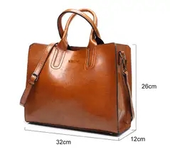 Leather Handbags Big Women Bag High Quality Casual Female Bags Trunk Tote Shoulder Bag brown one size