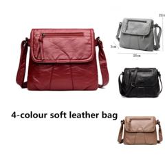Black Small Women Messenger Bag Soft Washed PU Leather Crossbody Bag Female Handbag Purses blake one size