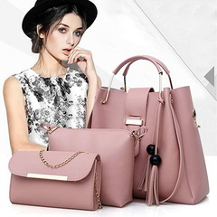 3 Pcs Women Handbag Set  Messenger Bags Ladies Fashion Shoulder Bag Lady PU Leather Pink one size