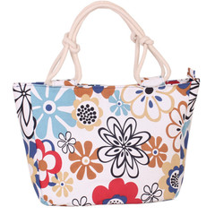 2019 Fashion Folding Women Big Size Handbag Tote Ladies Casual Flower Printing Canvas  Beach Bag Blue Flowers one size
