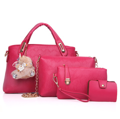4PCS/Set Women Lady Leather Handbag Tote Purse Satchel Messenger Shoulder Bags red one size