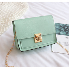 2019 new any matching shoulder Messenger bag fashion simple chain small square bag green one size