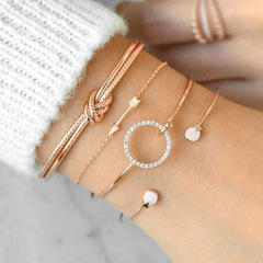 2019 Europe and America hot Collections four sets of round arrow bracelets and diamond bracelets Golden as picture