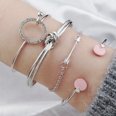 2019 Europe and America hot Collections four sets of round arrow bracelets and diamond bracelets White K as picture