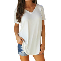 Large short-sleeved blouse V-collar pure-color short-sleeved T-shirt for women white s