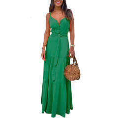 New European and American Women's Individual Button V-neck Stitching Sling Dress in Summer of 2019 green 3XL