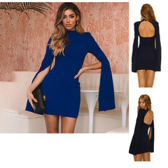 2019 autumn and winter new round neck open back split sleeves hip pencil women's dress blue s
