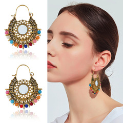 Women Fashion Bohemian wind round earrings with retro personality and color Earrings GOLD one size