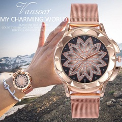 women watches Fashion Rose Gold Flower Rhinestone Wrist Luxury Casual Female Quartz Watch rose gold GOLD
