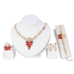 Women Luxury Crystal Grape Necklace Set Bracelet Ring Necklace Earrings Jewelry Four set series as picture one size