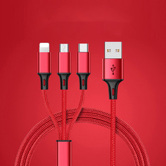 one drag three data lines charger cables  USB  sync data transfer cable for iPhone  Android TYPE-C RED