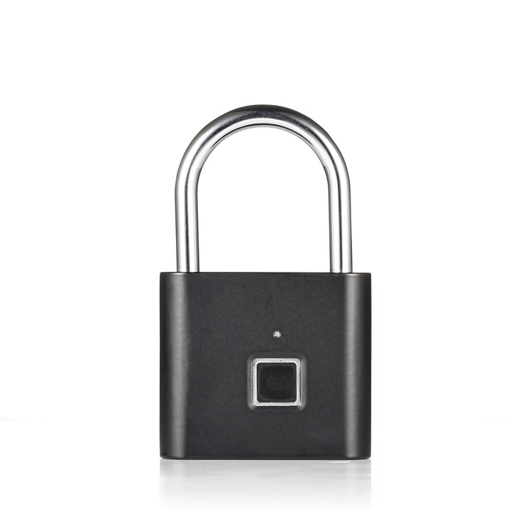 Golden Security Keyless USB Rechargeable Door Lock Fingerprint Smart Padlock Quick Unlock Black