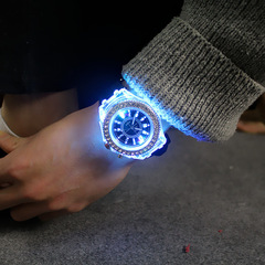 Luminous luminous personality rhinestones led fashion men and women students couple quartz watches black