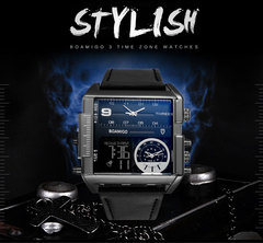 casual multi-function square watch new large dial male electronic watch silver shell brown belt Silver shell black belt